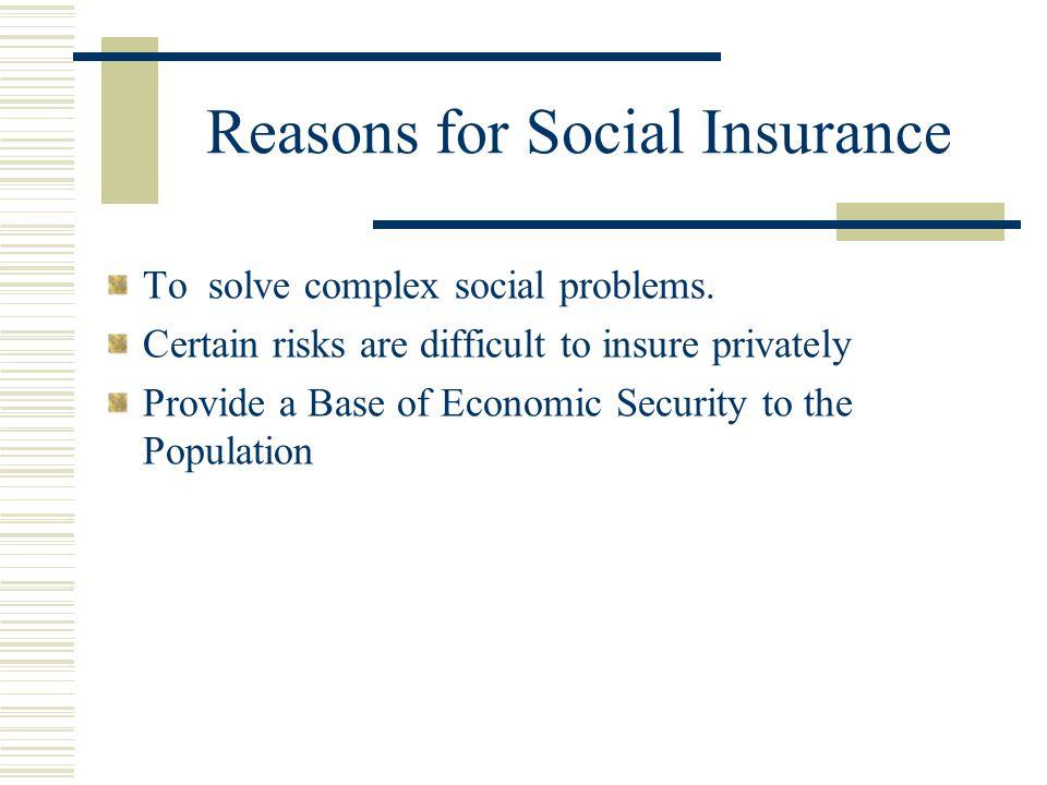 Social Insurance  Reasons for Social Insurance  Basic Characteristics of Social Insurance