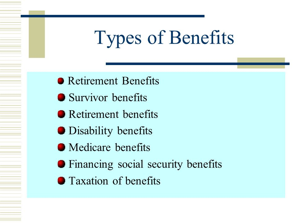 Types of Benefits The total program consists of social security (OASDI) and Medicare. The OASDI program pays monthly retirem-ent, survivor, and disabi
