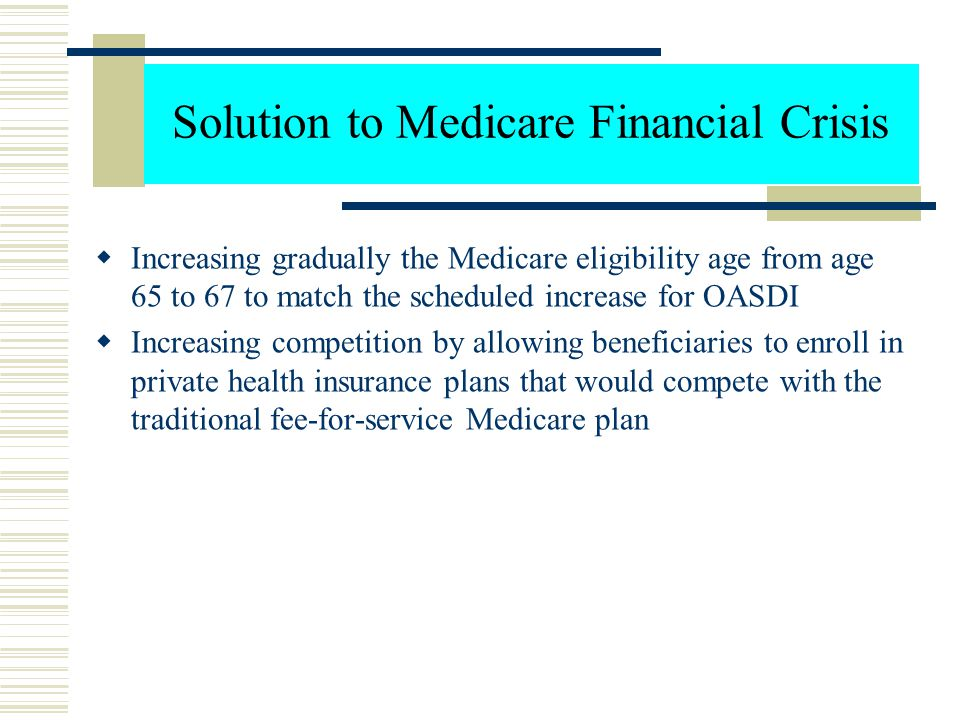 The Reasons for Medicare Financial Crisis  This unsatisfactory financial condition is due to several factors, including: An increase in the number of
