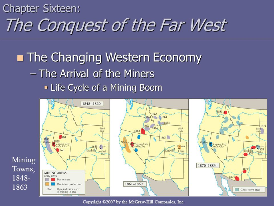 Copyright ©2007 by the McGraw-Hill Companies, Inc Chapter Sixteen: The Conquest of the Far West The Changing Western Economy The Changing Western Econ