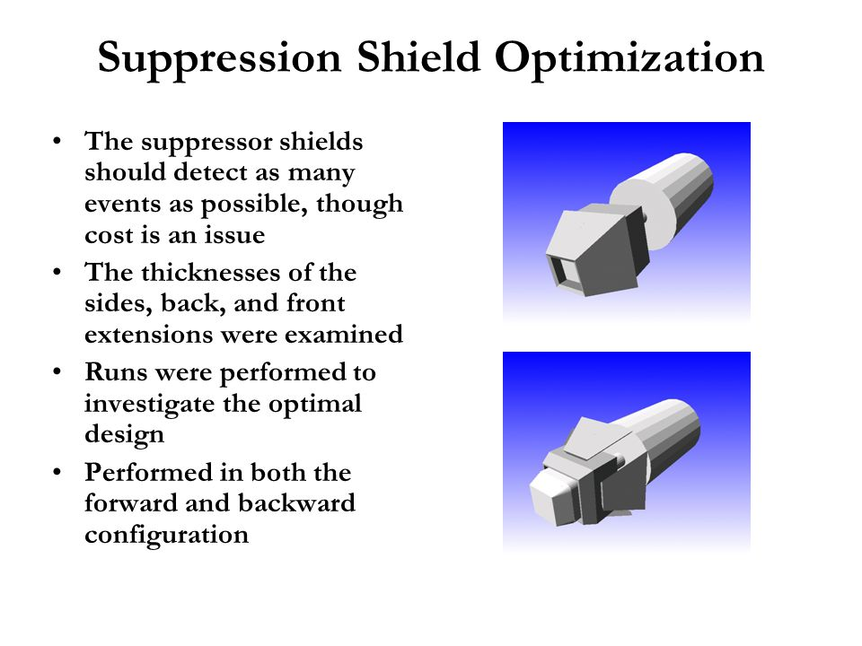Suppression Shield Optimization The suppressor shields should detect as many events as possible, though cost is an issue The thicknesses of the sides,