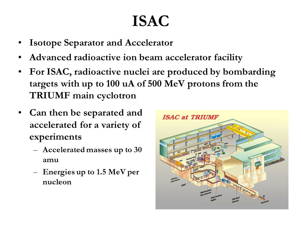 ISAC Isotope Separator and Accelerator Advanced radioactive ion beam accelerator facility For ISAC, radioactive nuclei are produced by bombarding targ