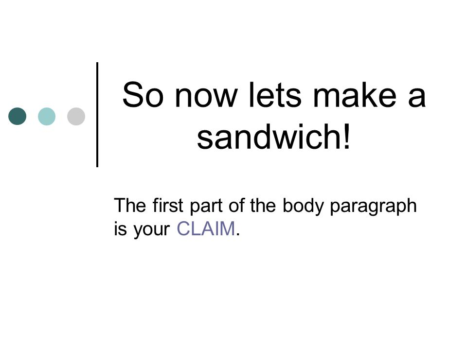 So now lets make a sandwich! The first part of the body paragraph is your CLAIM.