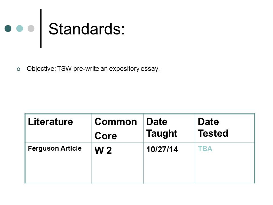 Standards: Objective: TSW pre-write an expository essay.