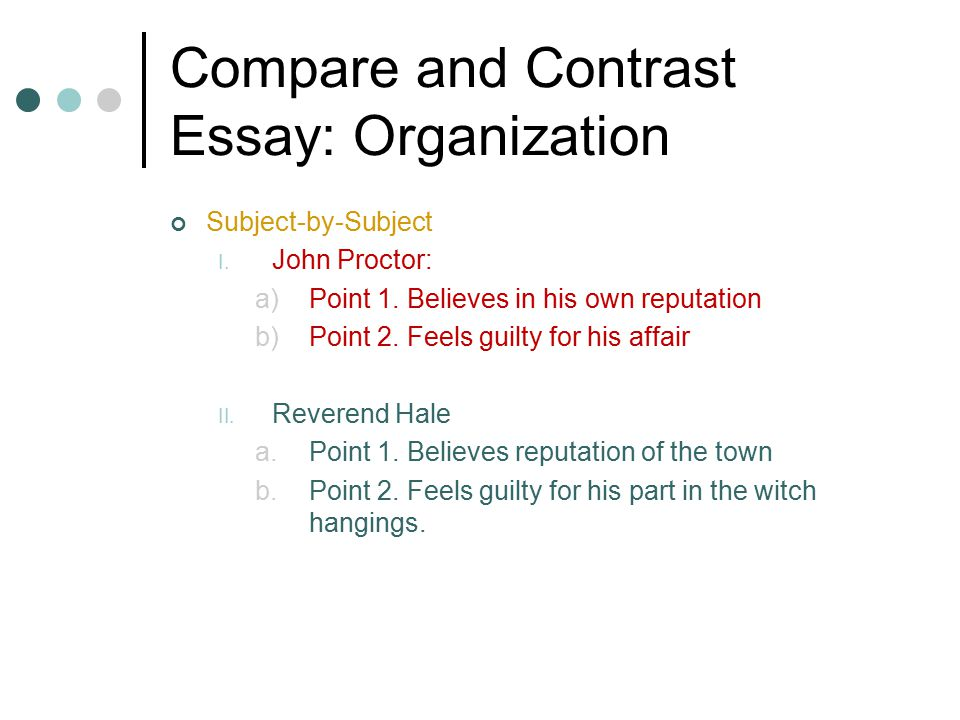 Compare and Contrast Essay: Organization Subject-by-Subject I.