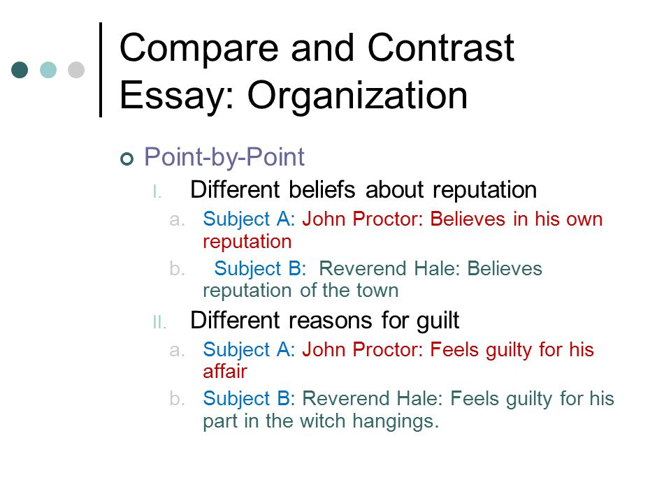 comparison contrast essays organization Writing a persuasive essay  writing a compare/contrast paper  writing a compare/contrast choose a parallel pattern of organization and effective transitions.