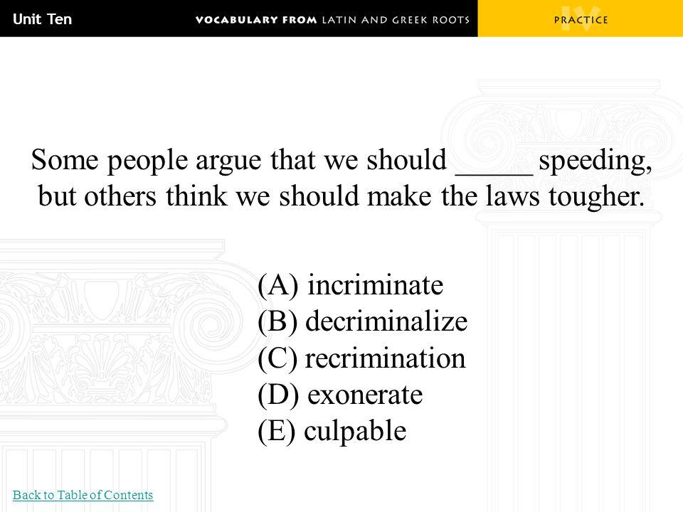 Unit Ten Some people argue that we should _____ speeding, but others think we should make the laws tougher. (A) incriminate (B) decriminalize (C) recr