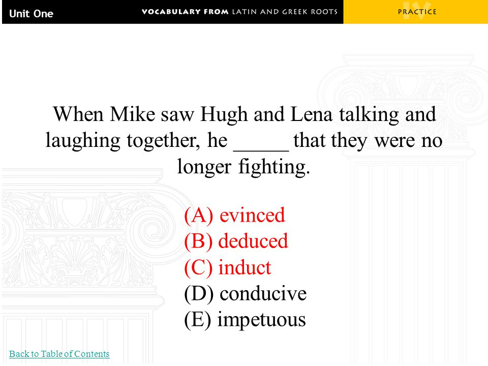 Unit One When Mike saw Hugh and Lena talking and laughing together, he _____ that they were no longer fighting. (A) evinced (B) deduced (C) induct (D)