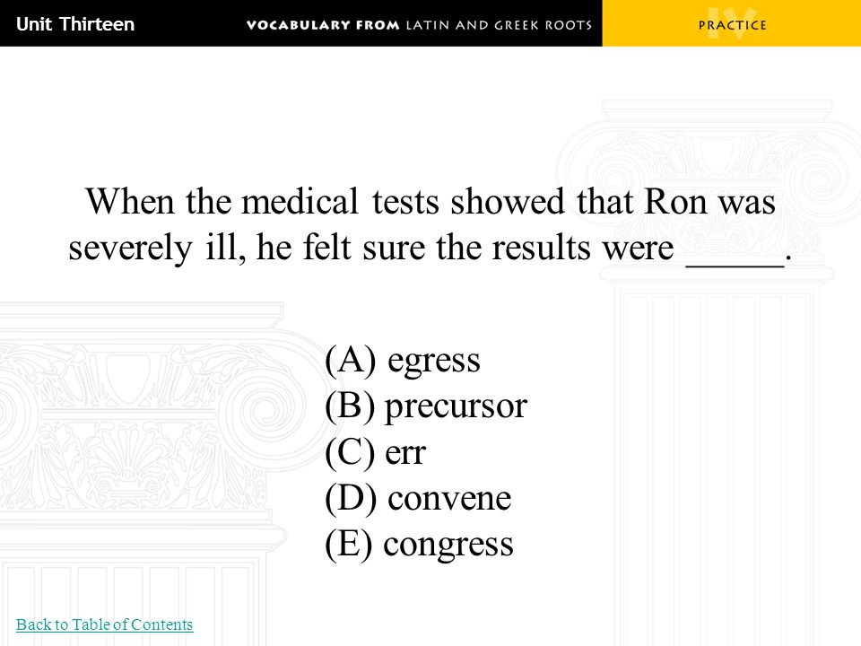 Unit Thirteen When the medical tests showed that Ron was severely ill, he felt sure the results were _____. (A) egress (B) precursor (C) err (D) conve