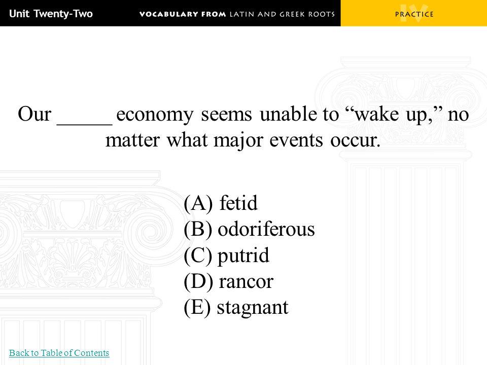 "Unit Twenty-Two Our _____ economy seems unable to ""wake up,"" no matter what major events occur. (A) fetid (B) odoriferous (C) putrid (D) rancor (E) st"