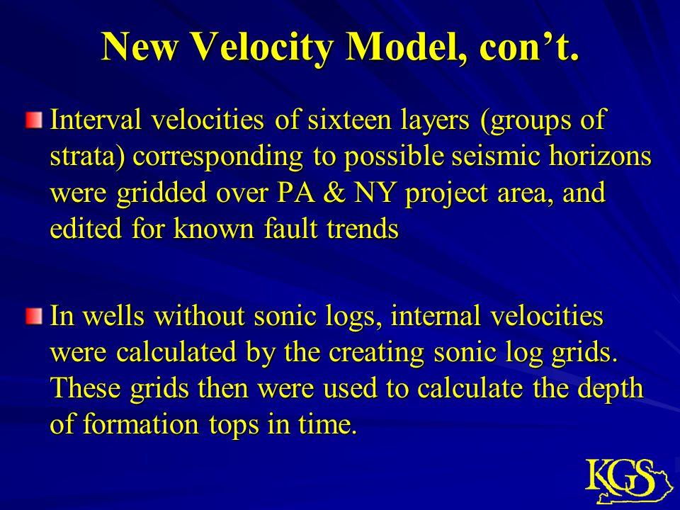 New Velocity Model, con't.