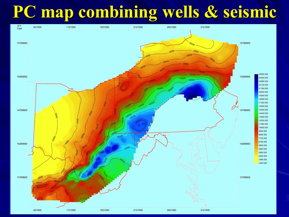 PC map combining wells & seismic