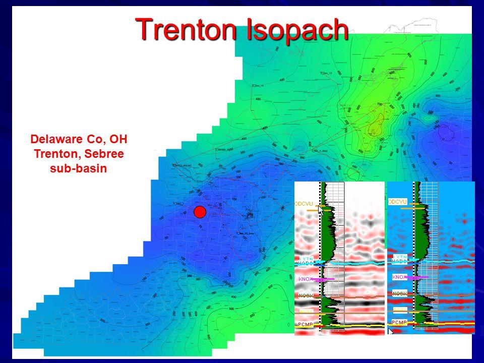 Trenton Isopach Delaware Co, OH Trenton, Sebree sub-basin