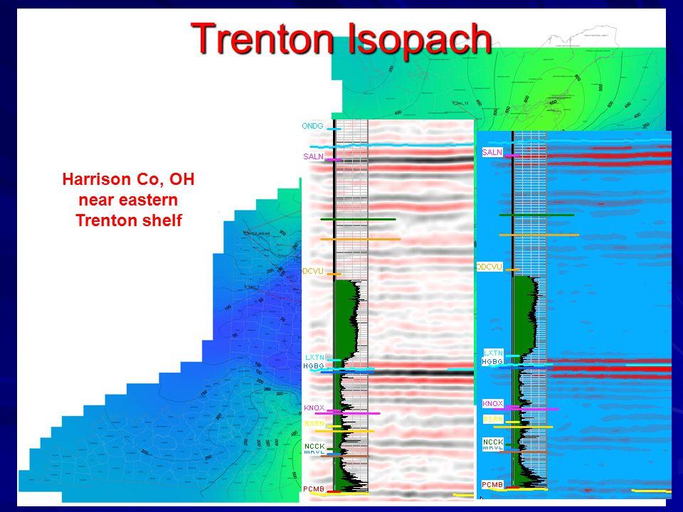 Trenton Isopach Harrison Co, OH near eastern Trenton shelf