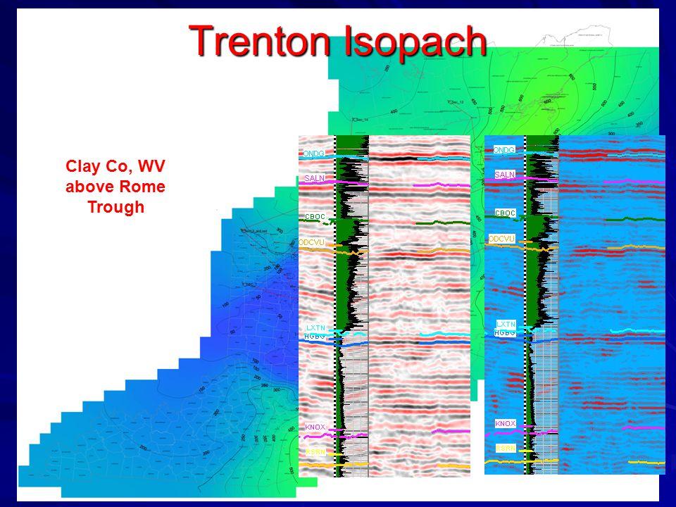 Trenton Isopach Clay Co, WV above Rome Trough