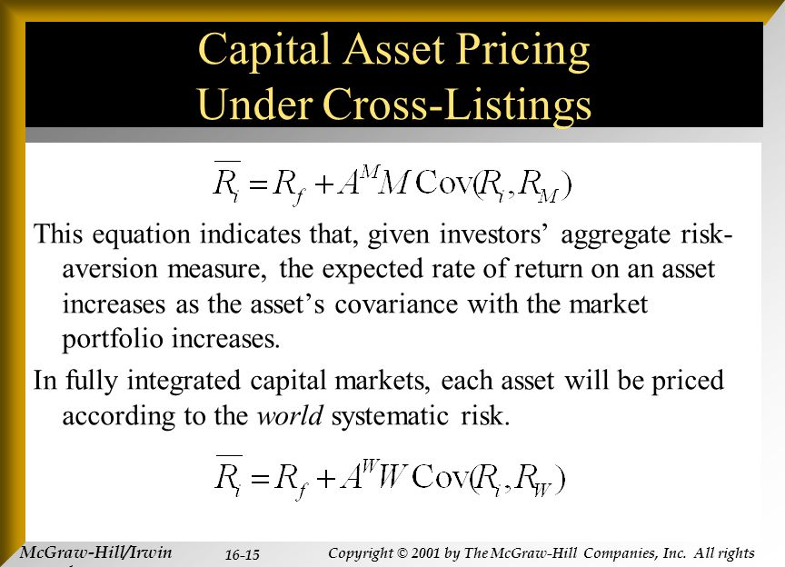 McGraw-Hill/Irwin Copyright © 2001 by The McGraw-Hill Companies, Inc. All rights reserved. 16-15 Capital Asset Pricing Under Cross-Listings This equat