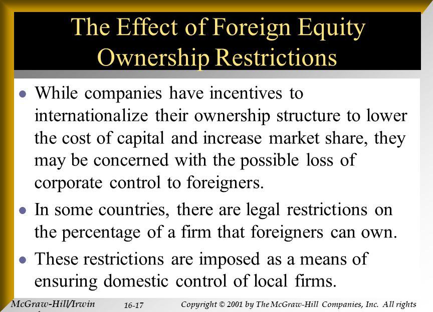 McGraw-Hill/Irwin Copyright © 2001 by The McGraw-Hill Companies, Inc. All rights reserved. 16-17 The Effect of Foreign Equity Ownership Restrictions W