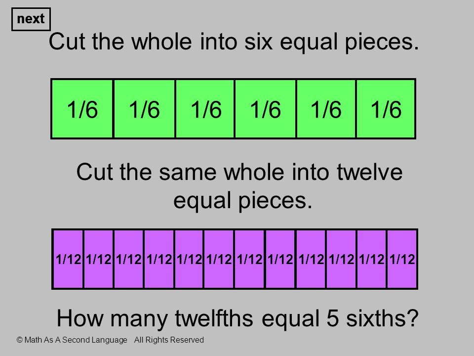 1 whole Cut the whole into six equal pieces. Cut the same whole into twelve equal pieces.