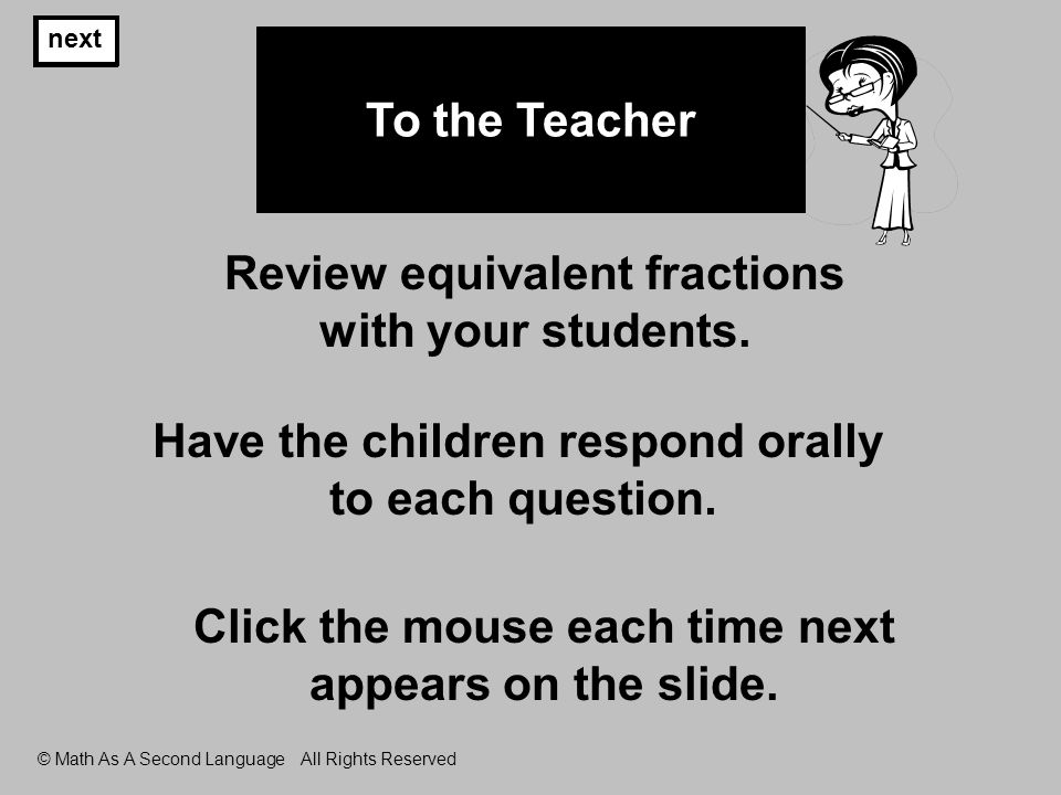 next © Math As A Second Language All Rights Reserved To the Teacher Review equivalent fractions with your students.