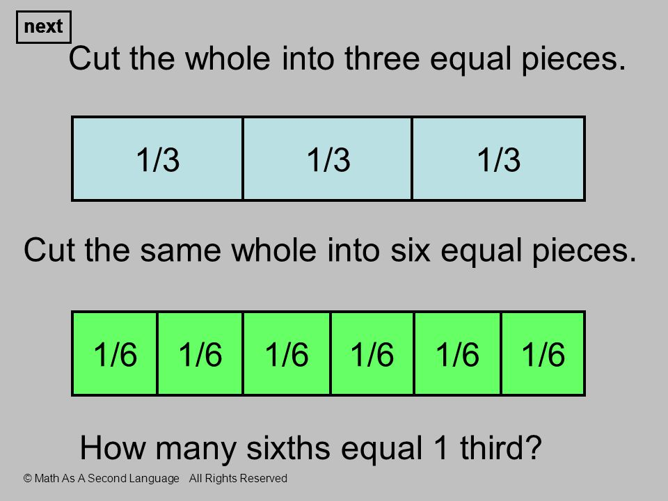 1 whole 1/2 Cut the whole into two equal pieces.Cut the same whole into six equal pieces.