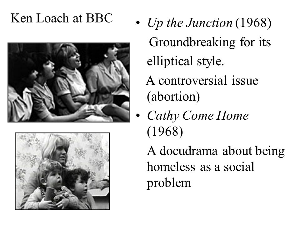 Ken Loach at BBC Up the Junction (1968) Groundbreaking for its elliptical style.