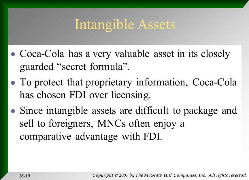 Copyright © 2007 by The McGraw-Hill Companies, Inc. All rights reserved. 16-10 Intangible Assets Coca-Cola has a very valuable asset in its closely gu