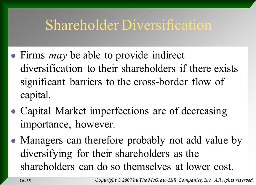 Copyright © 2007 by The McGraw-Hill Companies, Inc. All rights reserved. 16-15 Shareholder Diversification Firms may be able to provide indirect diver