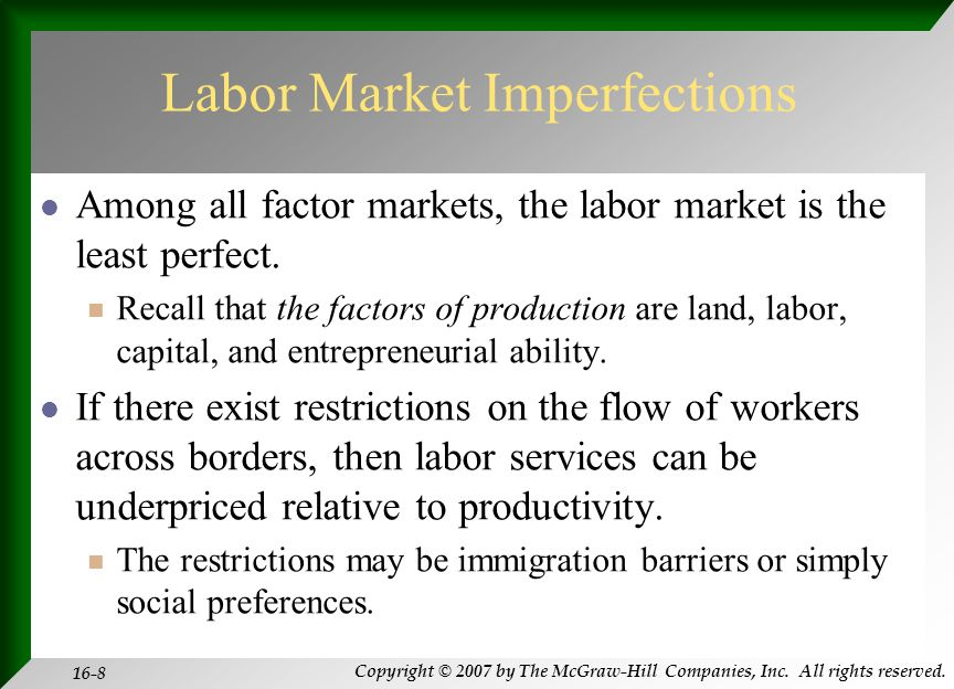 Copyright © 2007 by The McGraw-Hill Companies, Inc. All rights reserved. 16-8 Labor Market Imperfections Among all factor markets, the labor market is