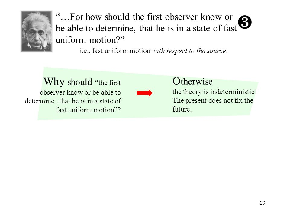 19 …For how should the first observer know or be able to determine, that he is in a state of fast uniform motion i.e., fast uniform motion with respect to the source.