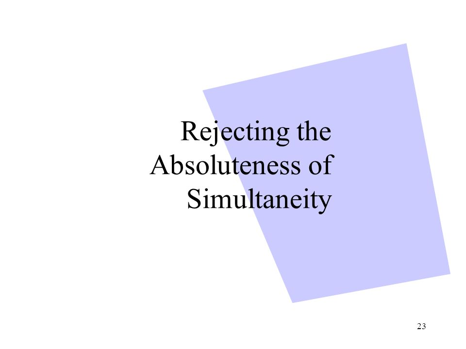 23 Rejecting the Absoluteness of Simultaneity