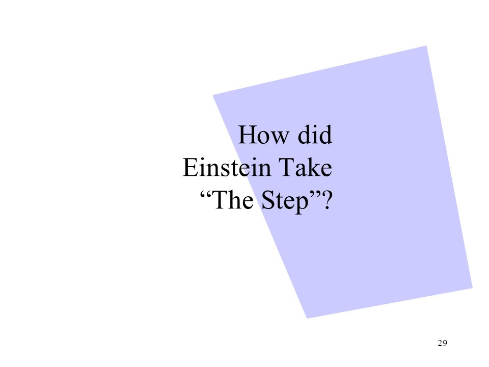 29 How did Einstein Take The Step