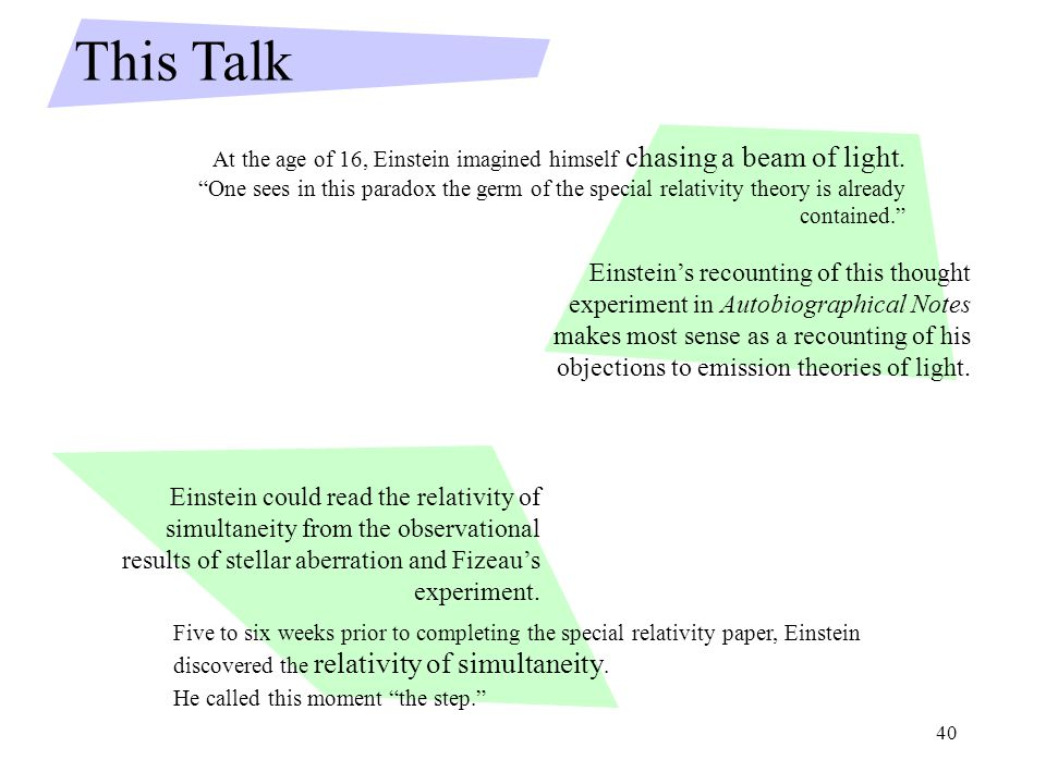 40 Einstein's recounting of this thought experiment in Autobiographical Notes makes most sense as a recounting of his objections to emission theories of light.