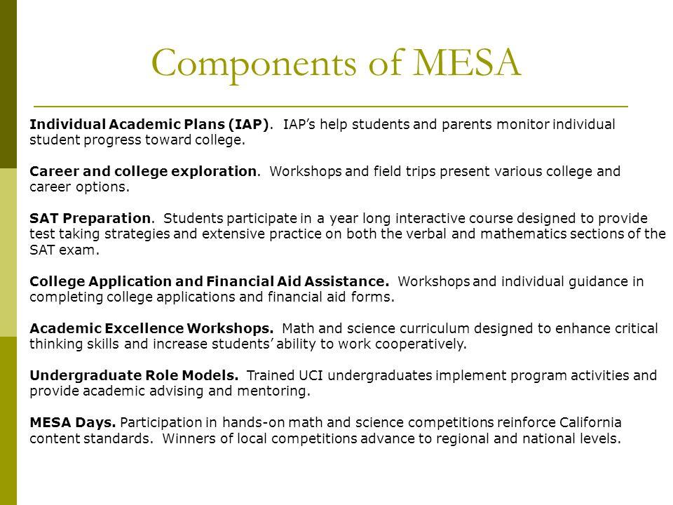 Components of MESA Individual Academic Plans (IAP).