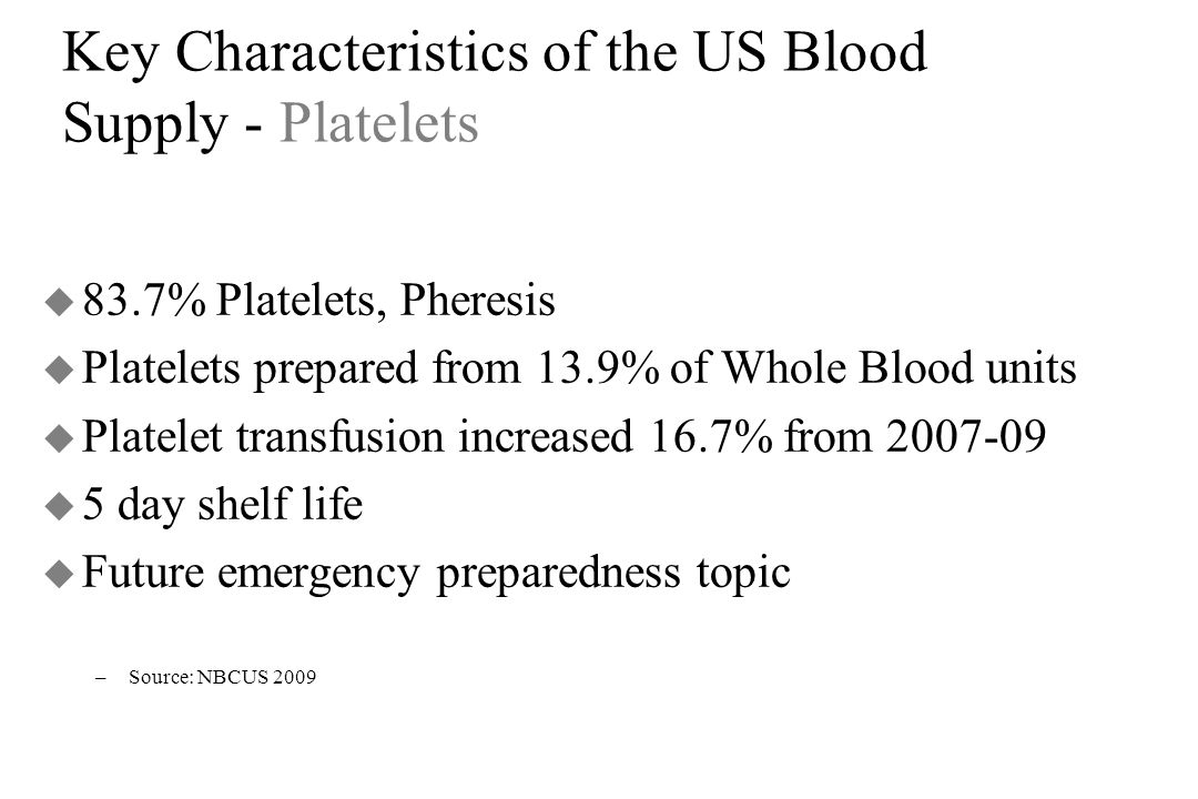 Key Characteristics of the US Blood Supply - Platelets u 83.7% Platelets, Pheresis u Platelets prepared from 13.9% of Whole Blood units u Platelet tra