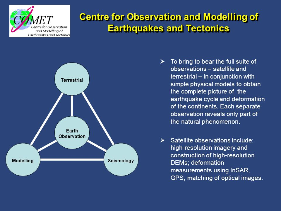 The Dynamic Earth and Geohazards Research Group within NCEO  Extend remit to include all aspects of solid earth that lead to geohazards.