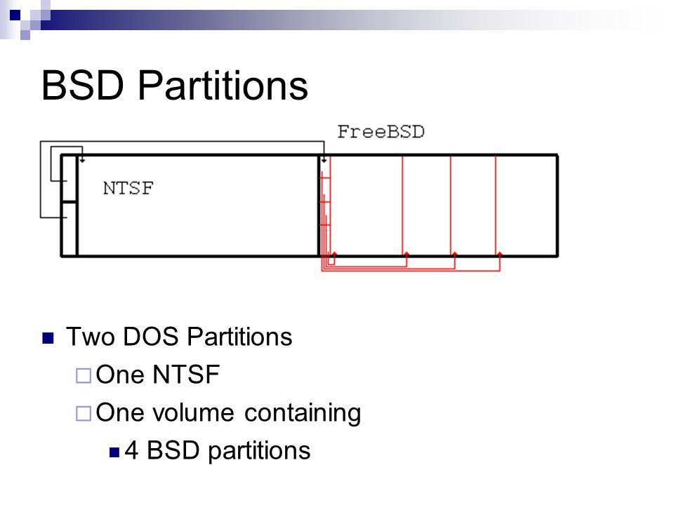 BSD Partitions Two DOS Partitions  One NTSF  One volume containing 4 BSD partitions