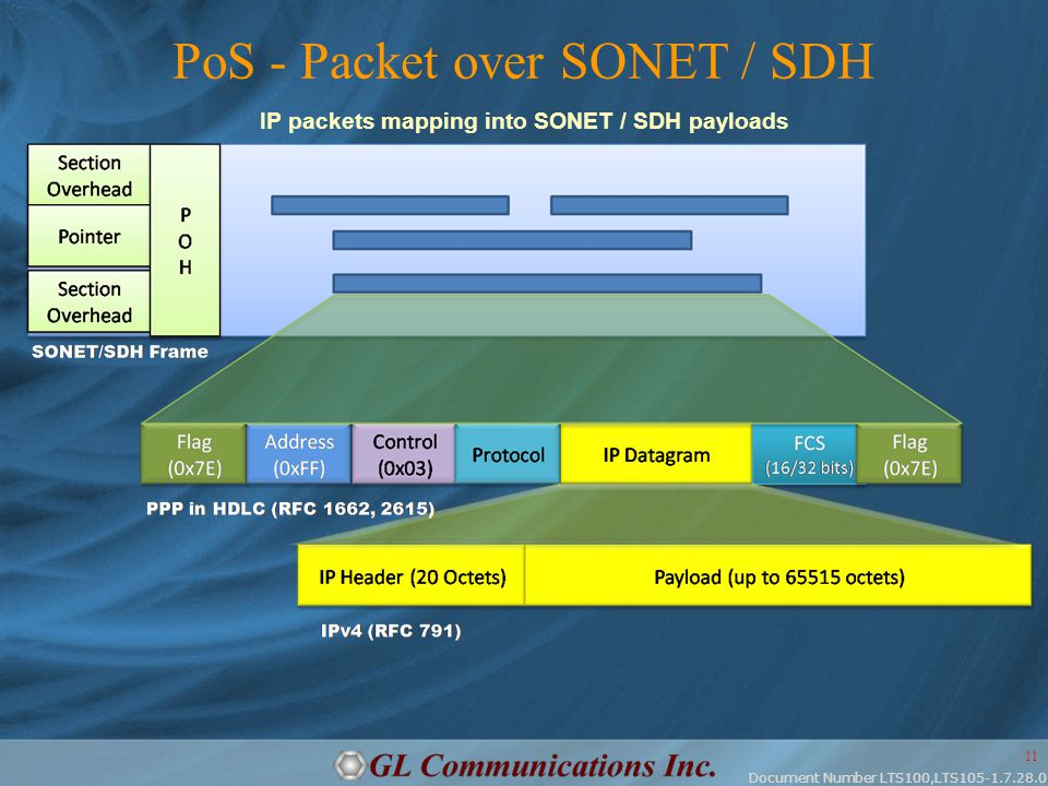 Document Number LTS100,LTS105-1.7.28.0 11 PoS - Packet over SONET / SDH IP packets mapping into SONET / SDH payloads
