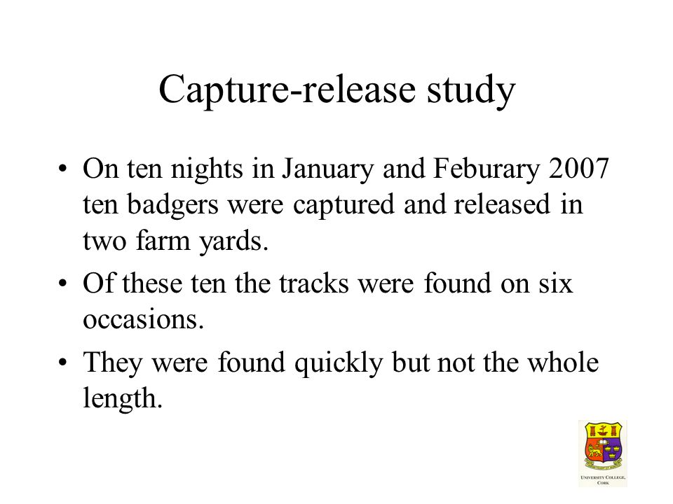 Capture-release study On ten nights in January and Feburary 2007 ten badgers were captured and released in two farm yards.