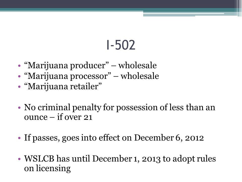 """Marijuana producer"" – wholesale ""Marijuana processor"" – wholesale ""Marijuana retailer"" No criminal penalty for possession of less than an ounce – if"