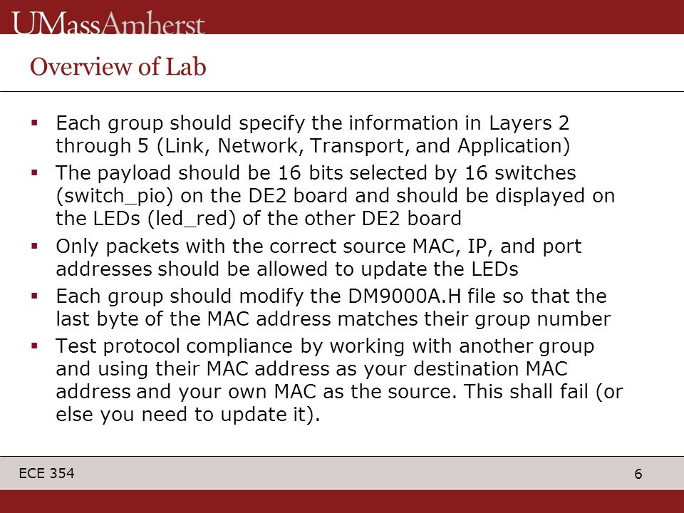 6 ECE 354 Overview of Lab  Each group should specify the information in Layers 2 through 5 (Link, Network, Transport, and Application)  The payload