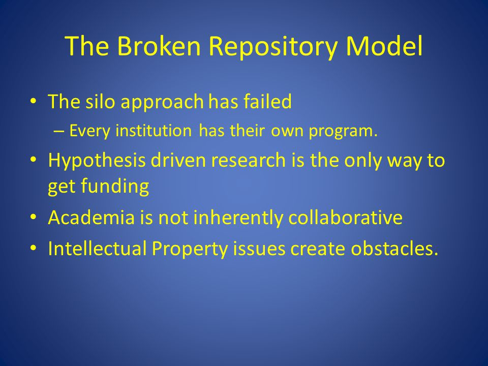 The Broken Repository Model The silo approach has failed – Every institution has their own program. Hypothesis driven research is the only way to get
