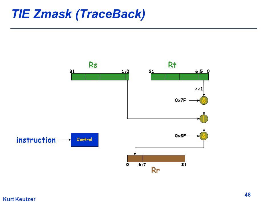 48 Kurt Keutzer TIE Zmask (TraceBack) & 311:0 RsRt Rr 316:50 6:70 | 0x7F <<1 & 0x3F 31 Control instruction