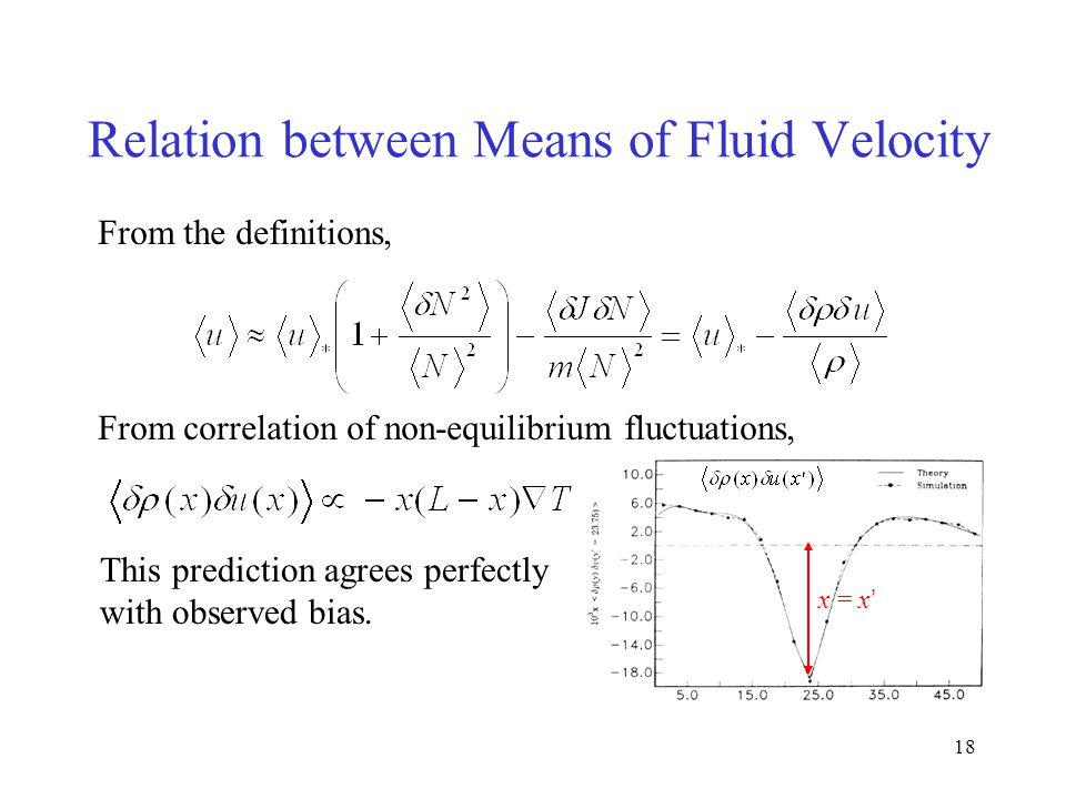 18 Relation between Means of Fluid Velocity From the definitions, From correlation of non-equilibrium fluctuations, This prediction agrees perfectly with observed bias.