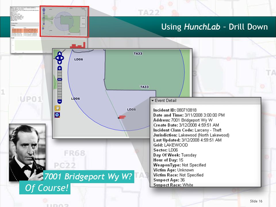 Slide 16 Using HunchLab – Drill Down 7001 Bridgeport Wy W? Of Course!