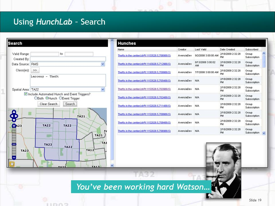 Slide 19 Using HunchLab – Search You've been working hard Watson…