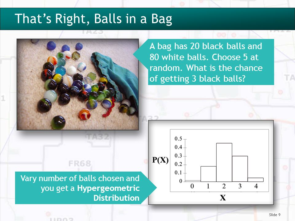 Slide 9 That's Right, Balls In a Bag That's Right, Balls in a Bag A bag has 20 black balls and 80 white balls.