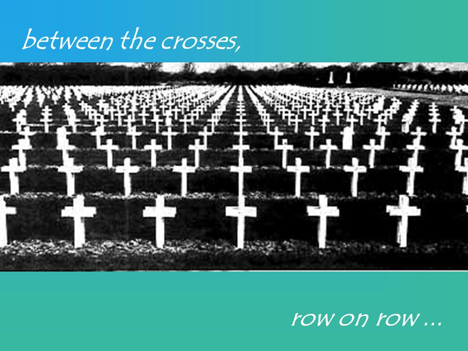 between the crosses, row on row...