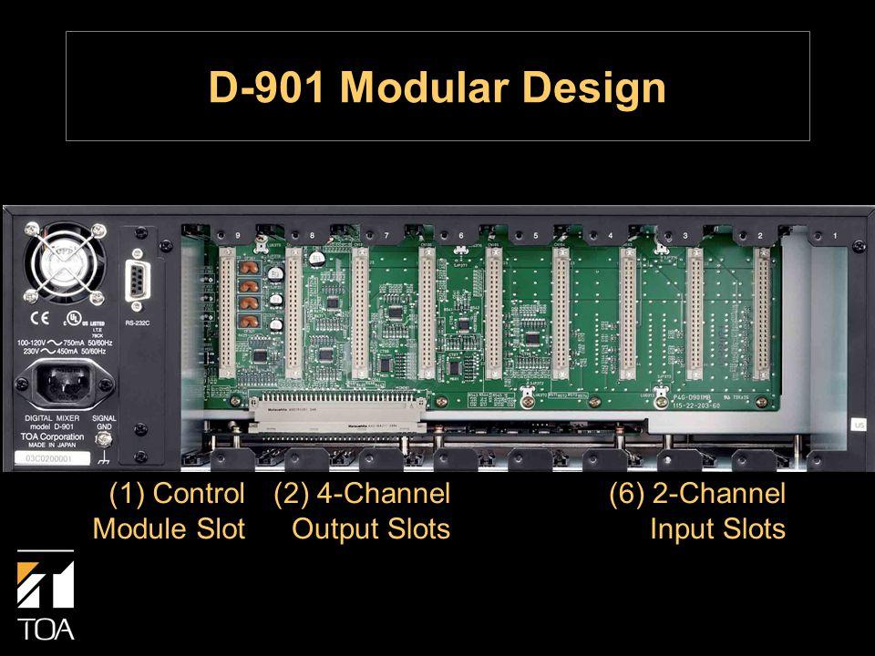 (6) 2-Channel Input Slots (2) 4-Channel Output Slots (1) Control Module Slot D-901 Modular Design