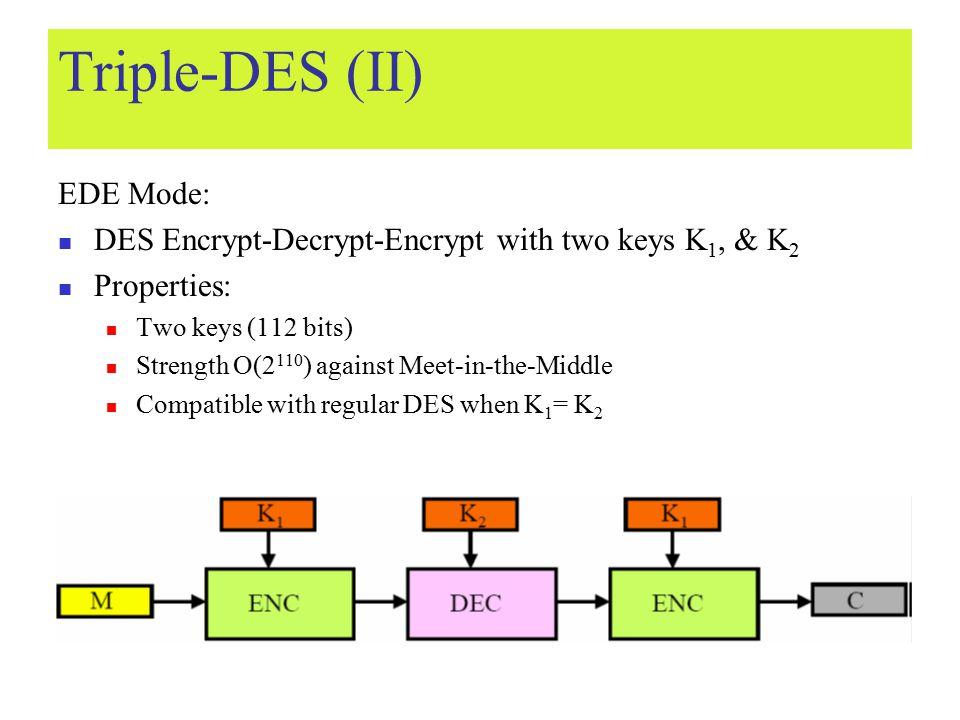 Triple-DES (II) EDE Mode: DES Encrypt-Decrypt-Encrypt with two keys K 1, & K 2 Properties: Two keys (112 bits) Strength O(2 110 ) against Meet-in-the-