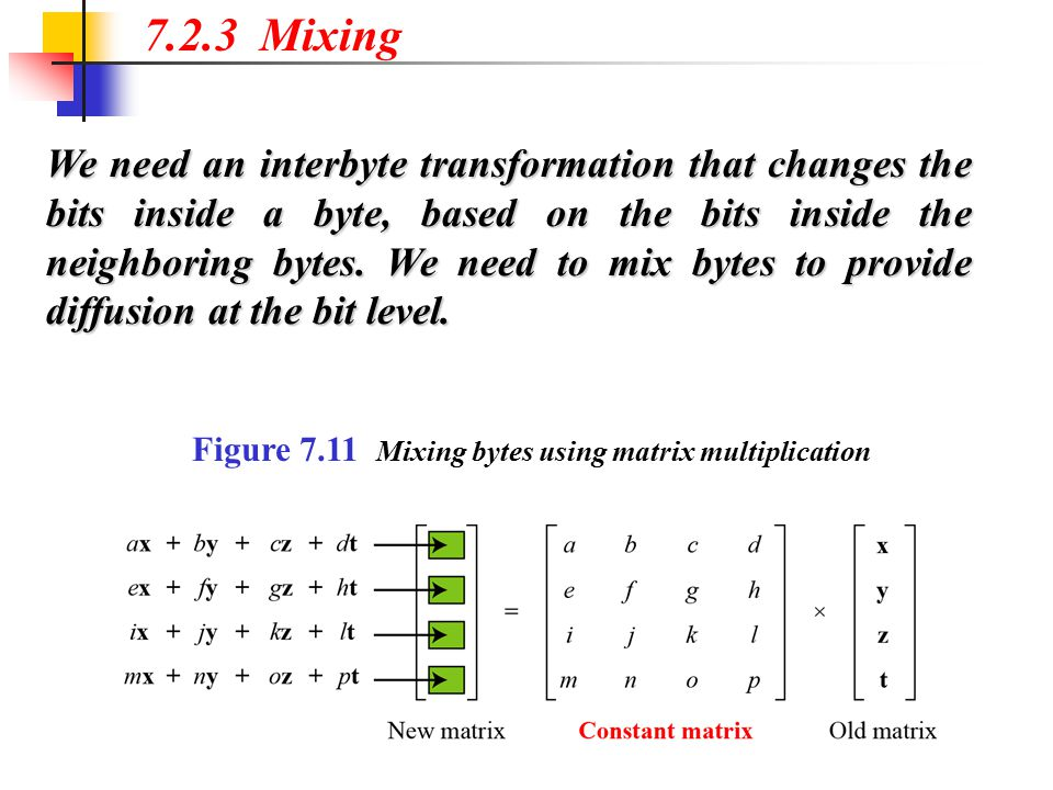7.2.3 Mixing We need an interbyte transformation that changes the bits inside a byte, based on the bits inside the neighboring bytes. We need to mix b